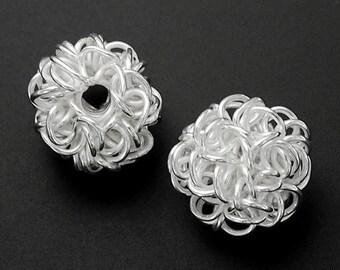 2 of Karen Hill Tribe Silver Wire Ball Beads 11.5x12 mm. :ka3383