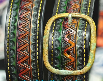 "Belt 4 - the Theodore - a 2"" wide custom leather belt - Unisex, Mens or Ladies Custom Handmade Leather Belt"