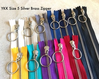 "YKK SILVER Brass Metal Zipper with Ring Pull (locking). 60cm/23.6"" Closed-Ended. Handbags/Bags. Size 5. 13 Colours. Nickel Free. Aussie"