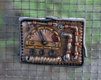 Steampunk Gauge Magnet. Cobbled together and beat up, this gauge has a story to tell!