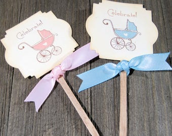 Baby shower Cupcake Toppers - Set of 12 - Dessert Toppers - Vintage Baby Carriage - Reveal Shower - Blue - Pink