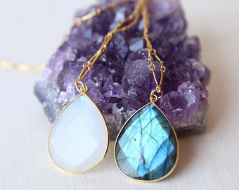 Luxe Large Statement Moonstone or Labradorite Gemstone Drop Necklace // 14K Gold Filled Chain // Long Layering Gemstone Necklace