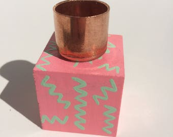 Hand Painted Wood Block Candle Holder - Pink & Green Zig Zags