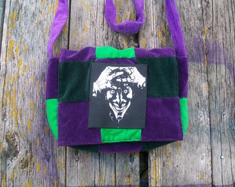 Green Purple Patchwork Recycled Corduroy Crossbody Purse Joker Ready to Ship