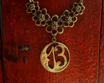 Lucky 13, Moon Necklace, Antiqued Brass (Bronze), Number Thirteen, Good Luck, Bohemian Jewelry, Thirteen Necklace, 13 Necklace, 13 Jewelry