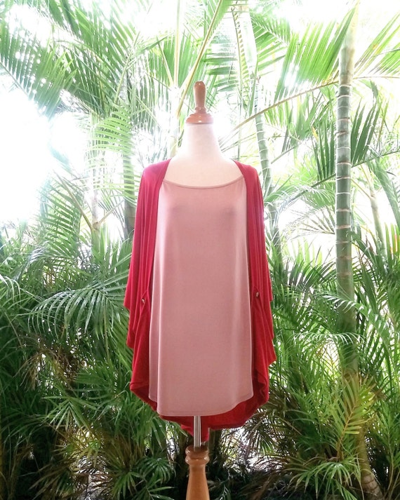 Ruby Red Rose Kimono Cardigan / Ruby Red