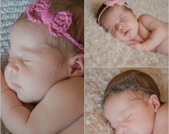 RTS Newborn Headband Set / Newborn Girls Headband Tieback  / Baby Headband Set / Crochet Newborn Headband / Newborn Girls Headband with Bow