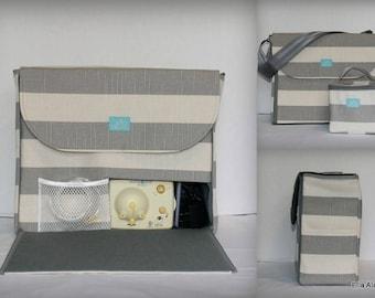 Alana style Breast Pump Bag in Coastal Gray Stripe print