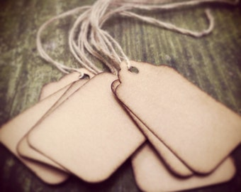 "25 Stained Scalloped Hang Tags, sized 1 3/4"" x 1 3/32"", Vintage tags, Antique tags, Primitive tags"