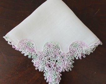 Vintage Lavender, White and Green Tatted Edged Handkerchief