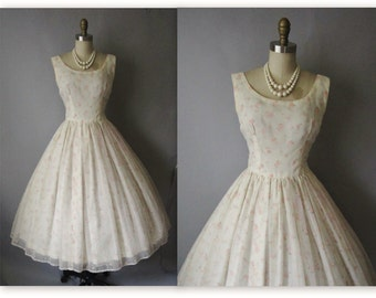50's Chiffon Dress // Vintage 1950's Flocked Ivory Chiffon Wedding Party Prom Dress S