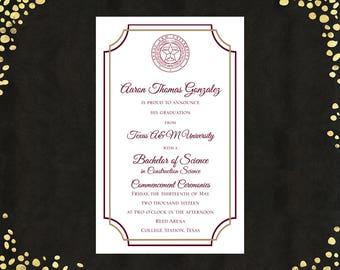 Qty. 25 College Graduation Invitations Announcements Bachelor's Degree Value Announcements Graduation Announcements with WHITE ENVELOPES