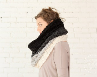 The Ombré Cowl | SMOKE | Chunky Knit Ombré Oversized Huge Textured Winter Cowl Scarf