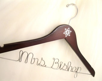 Snowflake Wedding Dress Bridal Hanger Personalized with Wire Name and Monogram Initials for Winter Wedding - Dark Wooden Hanger Shown