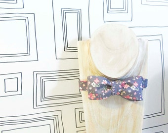 Elegant grey floral bow tie, romantic Valentine's bow