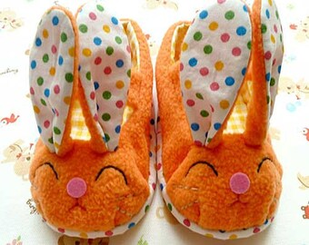 Bunny Baby Shoes, Rabbit Shoes, Bunny MaryJanes, Prewalker Booties, baby maryjanes, infant shoes, newborn booties, newborn shoes, ORANGE