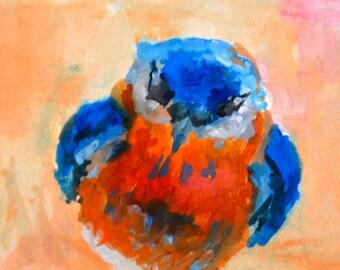 Original ACEO Watercolor Painting- Eastern BlueBird