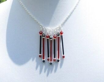 Black Red Glass Dangle Necklace Vintage Elements  Swarovski Crystals Handcrafted Handmade