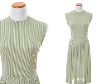 Vintage Green & White 60s 70s Dress - 1950s Short Sleeve Stripe Print - Size Small Medium Large Bust Stripe Sleeveless Green Frock Chic 14I