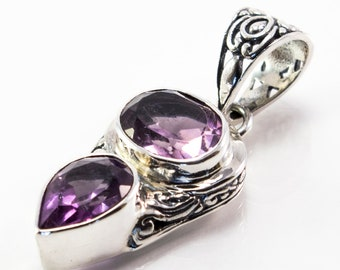 Amethyst Pendant/Amethyst/Amethyst Jewelry/Amethyst Necklace/February Birthstone/Bali/Tropical/Filigree/Handmade/Handmade Jewelry/Birthstone