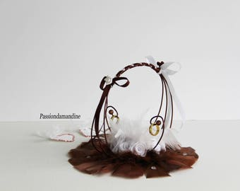 Wedding ring pillow in aluminum wire bridesmaid with flowers, feathers and ribbons