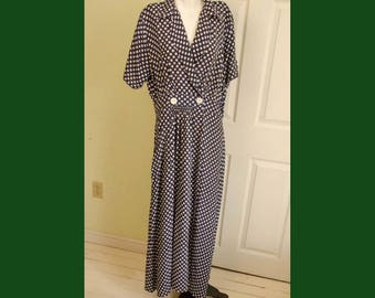 Vintage 1950's Woman's Dark Blue Polka Dot Lounging Robe Dress