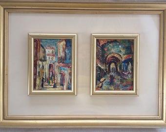 Vintage Artist Signed Gerti Israeli Judaica 2 Panel Acrylic Painting Wall Art