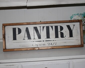 Pantry Wood Sign. Farmhouse Decor. Kitchen Decor. Rustic Signs. Wooden signs. Rustic Decor. Framed