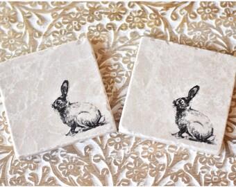 Rabbit / Bunny / Hare natural stone coaster