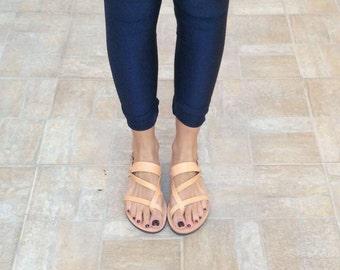 Slip on greek sandals, leather sandals, summer sandals, gladiator flats, women sandals, Handmade, women sandals, summer flats, wedding