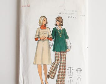 New uncut, Vintage sewing pattern, Butterick 5735, misses' maternity jumper, top and pants, size 12, 1970's pattern sewing supplies