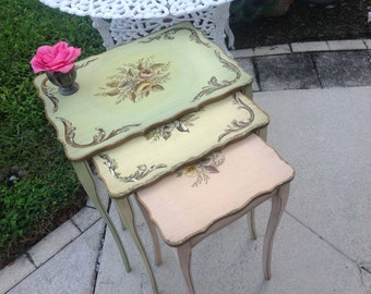 Handpainted Shabby Chic Nesting Tables / Romantic Homes pinks, greens and yellow / Romantic Cottage Style at Retro Daisy Girl