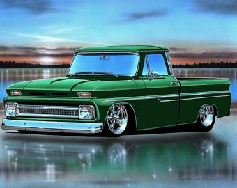 1966 Chevy C10 Fleetside Pickup Classic Truck Art Print w/ Color Options