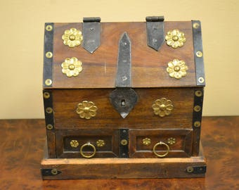 Nice Wooden Box With Brass Fittings