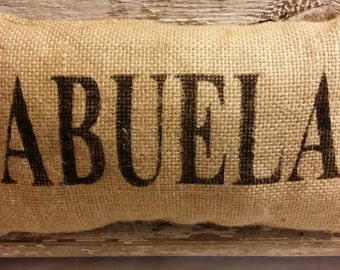 "Burlap Abuela 11"" x 6"" Stuffed Pillow Mother's Day Or Birthday Gift"