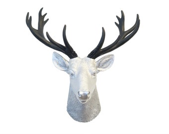 Mini Deer Head Wall Mount in Silver And Black - Faux Taxidermy Office Decor - Gallery Wall Home Decor Deer Head Wall Mount SD1017