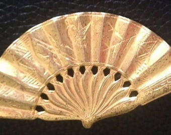 Signed Miriam Haskell Fan Brooch/pin in Russian Gold tone