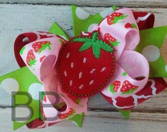 Strawberry Hair Bow, Sweet Summertime Hair Bow, Layered Strawberry Bow, OTT Hair Bow, Pink Red and Green Layered Bow, Pineapple Birthday