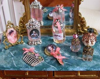 1:12th scale ~ Dolls House ~ Romantic Accessories for Ladies Vanity ~ Dolls House Bedroom / Boudoir