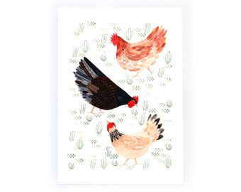 Happy Hens - archival art print