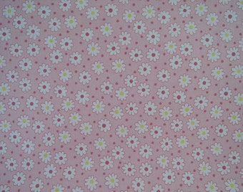 """Half Yard of Lecien Retro 30's Tiny Daisies and Dots Fabric in Pink. Approx. 18"""" x 44"""" Made in Japan"""