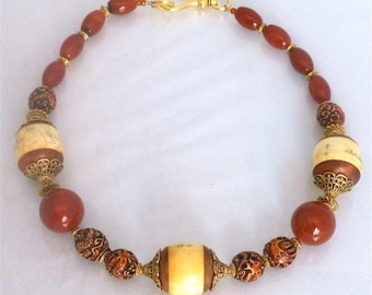 Artisan Carnelian Necklace With Asian Accent