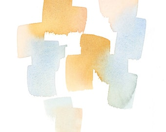Digital image, blue and peach-gold ochre gradient art print of abstract brushstrokes with a minimalist composition