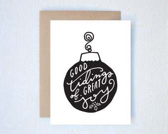 Good Tidings of Great Joy Christmas Holiday Card Letterpress Printed Handlettered Calligraphy Handlettering