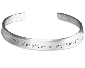 MY DAUGHTER My HEART * Valentine's Day Gift For Daughter * Gifts for Daughter * Daughter Birthday Gift * Customize Option * Stamped Bracelet