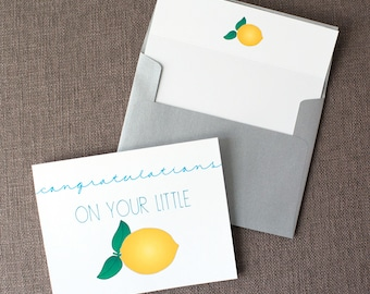 Congratulations On Your Little Lemon Mom to Be Baby Shower Greeting Card | Card for Expectant Parents | Cute Baby Shower Greeting Card