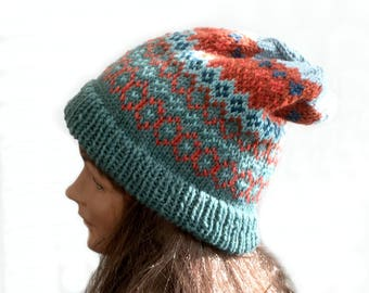 Hand knit slouch hat, Fair Isle slouch hat, knit hat fall colors, knit wool slouch hat, Nordic hand knit hat, Icelandic knit hat