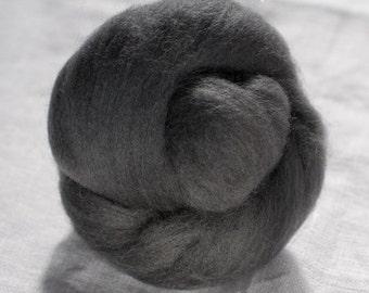 Merino Wool Top 100%, Needle Felting Wool, Wool Roving, Hand Spinning, Chimney Gray, Merino Wool Felt, High Quality Soft Merino Wool, mw91