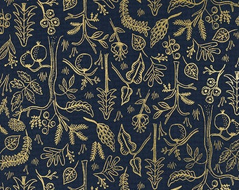 Black Forest - Navy METALLIC from Amalfi by Rifle Paper Co. for Cotton + Steel