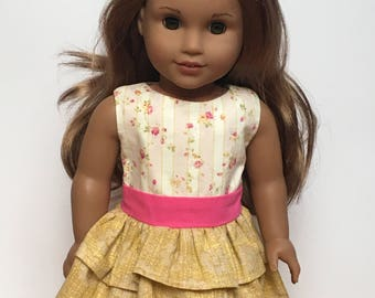 Gold and pink ruffled party dress with lined bodice for 18 inch dolls